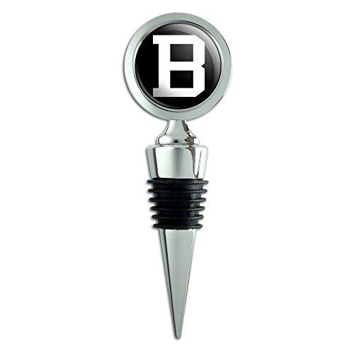 Letter B Initial Black White Wine Bottle Stopper ()
