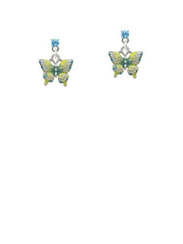Small Lime Green & Blue Butterfly Hot Blue Crystal Post (Blue Enamel Butterfly Post Earrings)