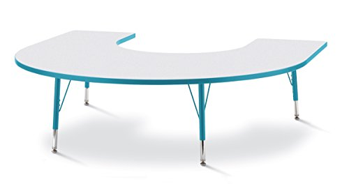 "UPC 743080035431, Berries 6445JCT005 Horseshoe Activity Table, T-Height, 66"" x 60"", Gray/Teal/Teal"