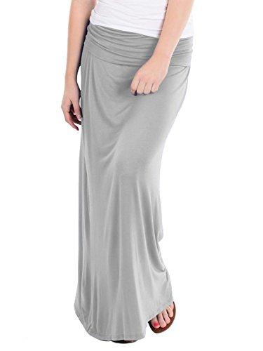 Hybrid & Company - Women's Maxi Skirt W/ Fold Over Waist Band - Made in the USA, Heather Grey, Medium
