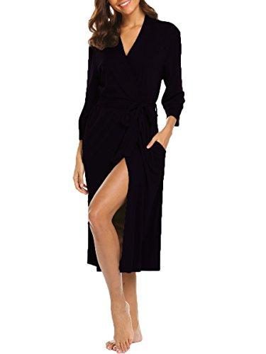 (BLUETIME Womens Bath Robes Soft Knit Sleepwear Kimono Long Loungwear (XL, Black))