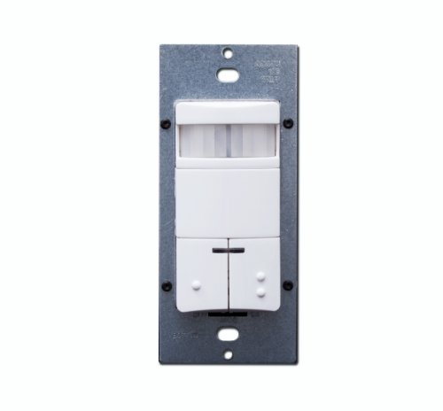 Leviton ODS0D-IDW Dual-Relay, Decora Passive Infrared Wall Switch Occupancy Sensor, 180 Degree, 2100 sq. ft. Coverage, White