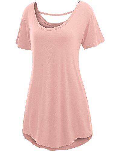 Doublju Womens Basic Comfy Short Sleeve Oversized Long Tunic Top