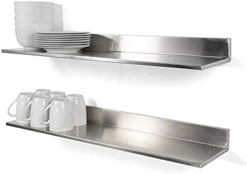 Wallniture Plat Stainless Steel Wall Shelf Heavy Duty Restaurant Bar Cafe & Home Kitchen Organization and Storage Shelf Set of 2 30.8″ Silver