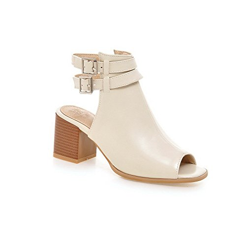 AllhqFashion Womens PU Solid Buckle Peep Toe Kitten-Heels Sandals Beige 9vNm8