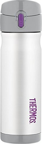 Thermos Vacuum Insulated Stainless Steel Commuter Bottle, 16-ounce, White w/ Purple Accent