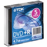 DVD-R Disc, 4.7, 16X, with Slim Jewel Case, Silver (TDK48577) Category: CD and DVD Media