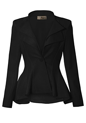 (Women Double Notch Lapel Office Blazer JK43864 1073T Black 2X)
