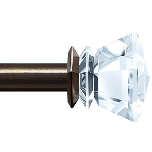 KAMANINA 1 Inch Curtain rods 36 to 72 Inches, Bronze Single Drapery Rod, Acrylic finials ()