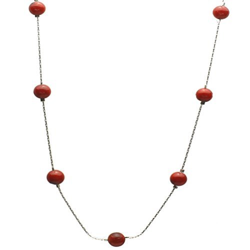 Red Bamboo Coral Beads Station Tin Cup Sterling Silver Chain Necklace, 20