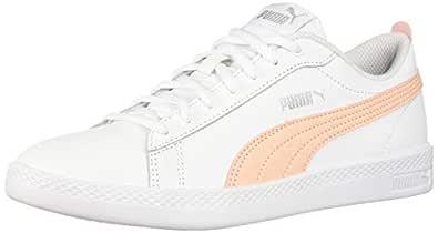 PUMA Women's Smash Sneaker, White-Peach Parfait Silver, 5.5 M US