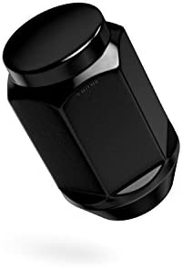 24個 ブラック バルジラグナット - 1/2x20 スレッド - 円錐 テーパー ドングリ シート クローズドエンド - 長さ1.4インチ - 19mmまたは3/4インチの六角ソケットに取り付け - Dodge Viper Dakota Durango用