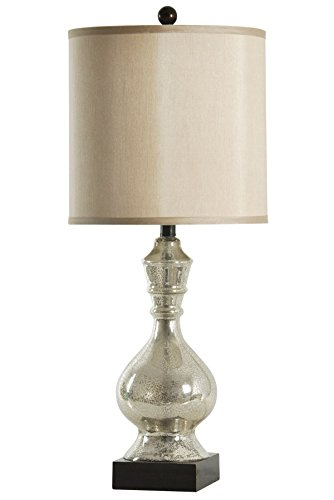 Collective Design 720354121946 Northbay Silver Crackle Mirrored Table Lamp, Mercury & Dark Brown (Crackle Lamp Silver)