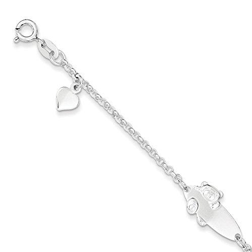 Sterling Silver Polished Teddy Bear Baby Engraveable ID Bracelet