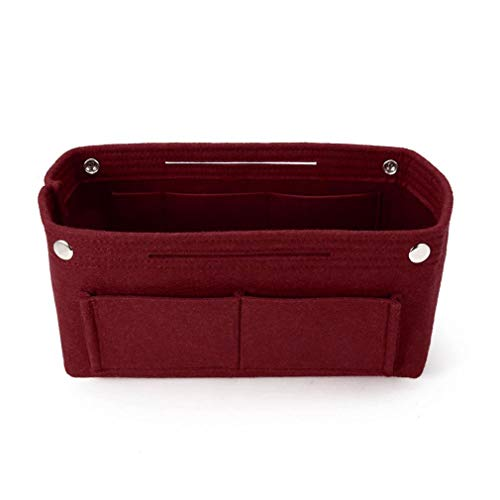 Multifunction Felt Fabric Cosmetic Cases Organizer Insert Bag Storage Solid Colors For Women Wine Red