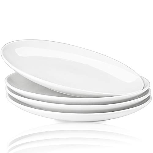 (Delling 10'' Perdurable Porcelain Dinner Plates, Natural White Dinnerware Dish Set of 4 for Dinner and Salad, Restaurant, Family Party and Kitchen Use - Round)