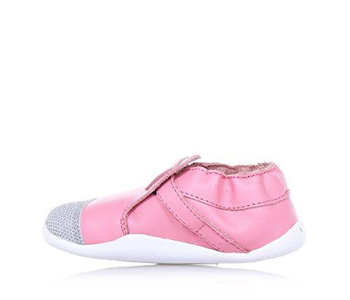 BOBUX - Pink Schuh aus Leder und Stoff, äußerst flexibel, erlaubt ein unbeschränktes Wachstum, mit ungiftigen Färbemitteln und Materialien hergestellt, mit Klettverschluss, Mädchen