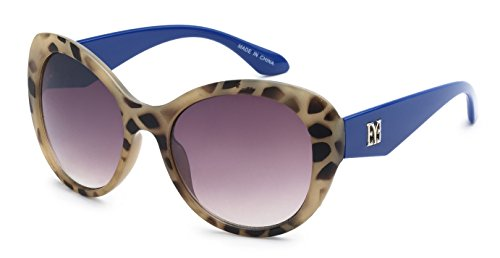 Eason Eyewear Women's Super Trendy Fasion Cat Eye Sunglasses EYE Styled 55 mm Leopard Print with Blue - Sunglasses Print Leopard