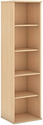 Bush Business Furniture 66H 5 Shelf Narrow Bookcase in Natural Maple