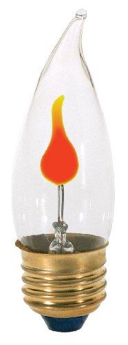 Satco S3657 120V Medium Base 2-3-Watt Flicker Bulb, ()