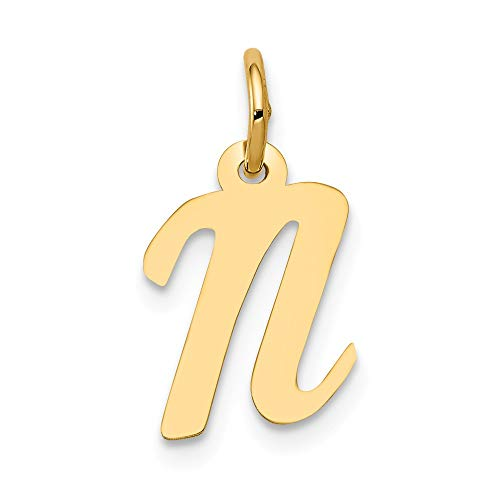 Jewelry Stores Network 14k Yellow Gold Polished Flat Script Upper Case Letter N Initial Charm 17x8-11mm