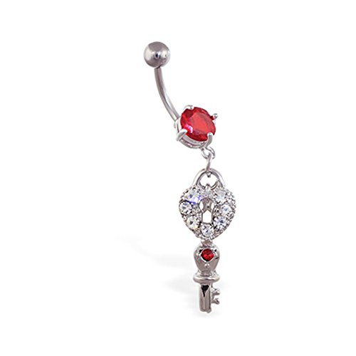 MsPiercing Navel Ring With Dangling Jeweled Heart Lock And Key, Red - - Heart Lock Jeweled