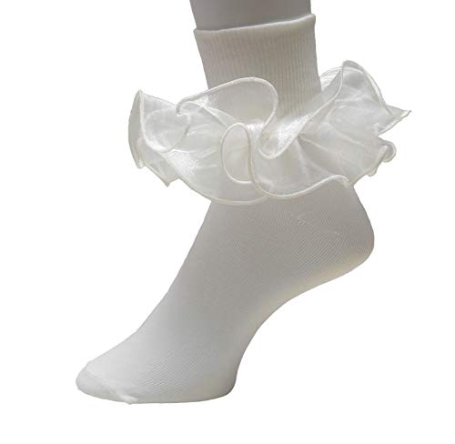Girls Double Ruffle Socks - Big Full Organza with Trim Pageant Fanfare Foldover Ankle Style (3-4, Ivory w/Ivory -
