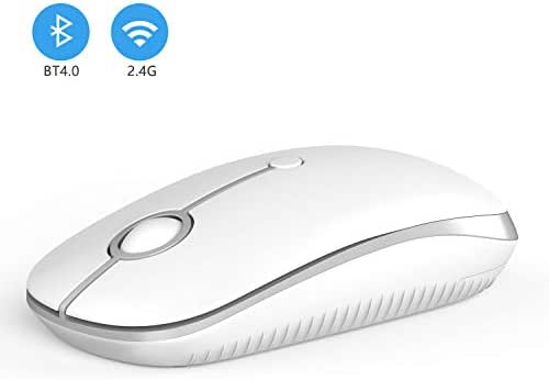 2.4GHz Wireless Bluetooth Mouse, Jelly Comb Dual Mode Slim Wireless Mouse with 2400 DPI Compatible for PC, Laptop, Mac, Android, Windows (Silver and White)