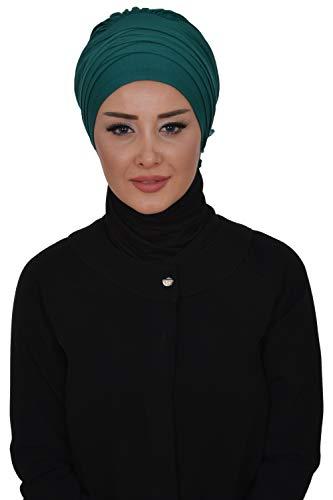 (Instant Turban Cotton Scarf Head Wrap Lightweight Cancer Chemo Headwear D Green)