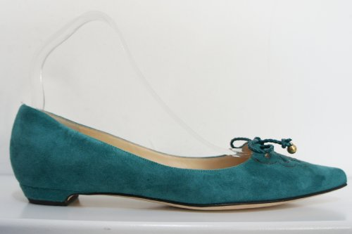 "Jimmy Choo  Jade, Ballerines pour femme Vert Jade Green with Golden Coloured ""balls"" 35.5 (3.5 UK)"