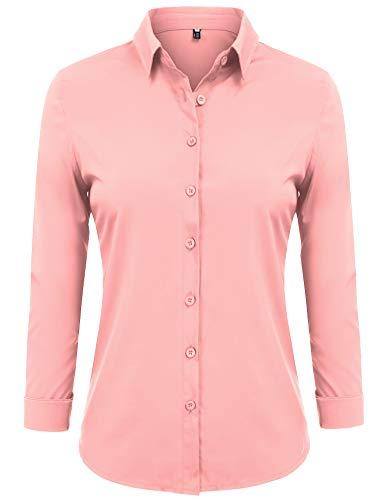 Blend Blouse (FISOUL Women's Basic Long Sleeve Button Down Shirts Cotton Simple Formal Casual Shirt Blouse (Pink XL))