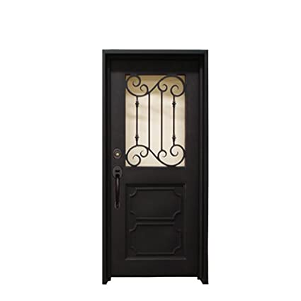36u0026quot; X 81u0026quot; Wrought Iron Entry Door With Glass
