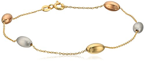 TreEsse Italian 10k Yellow, White, and Rose Gold Bead Station Bracelet, ()