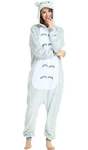 Indiefit Adults Onesie Pyjamas Flannel Animal Cosplay Costume Hoodie Sleepwear Nightgown totoro-M ()