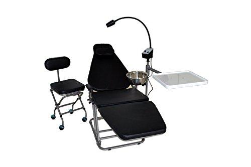 Superdental New Portable Folding Chair &Exam LED Lamp Light & Stainless Steel Spittoons& Doctor's Chair All Black