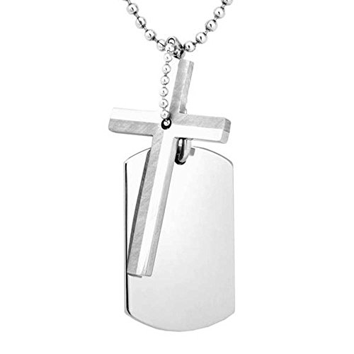 - Men's Engravable Cross Dog Tag Pendant Necklace, Stainless Steel, 22
