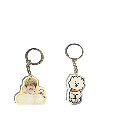 BTS Cartoon Acrylic Keychain Bangtan Boys Key Ring Hot Gift for  Army,Transparent, Double-Sided Visible (JIN+RJ, 2pack)
