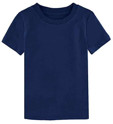 (A&J DESIGN Toddler Boys' Short Sleeve Heavyweight Cotton T-Shirt (Navy Blue, 4T))