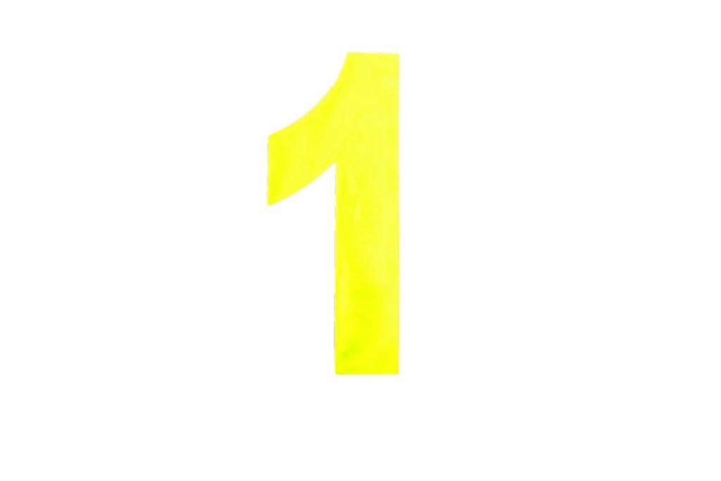 6 inch 150mm House Wheelie Bin Number 1 - Yellow Bulk Hardware BH04962 High Visibility Self Adhesive Plastic Reflective Mailbox