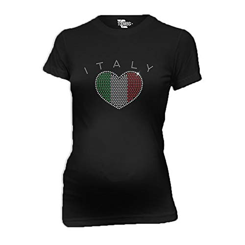 Italy Rhinestone Heart Women's Maternity T-Shirt (Black, Large) ()