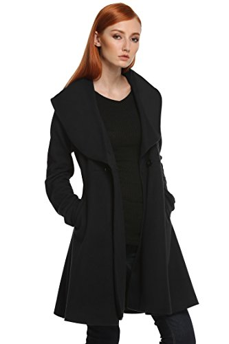 etuoji Women Womens Toggle Hooded & Double Breasted Trench Coat Black XXL