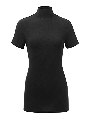 (MBJ WT1581 Womens Short Sleeve Mock Neck Pullover Sweater - Made in USA XXL Black)