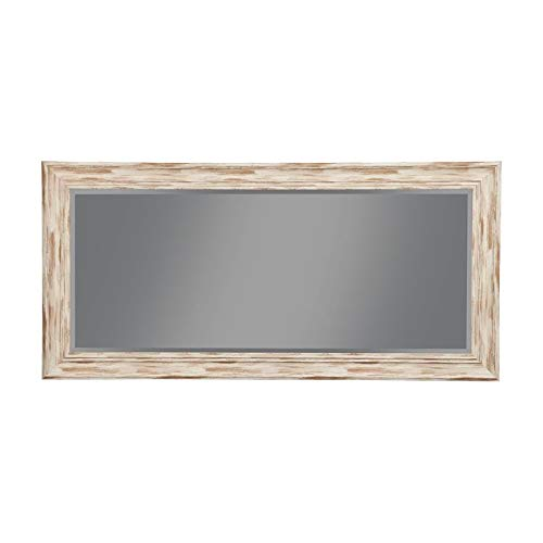 Sandberg Furniture Antique White Wash Farmhouse Full Length Leaner Mirror,