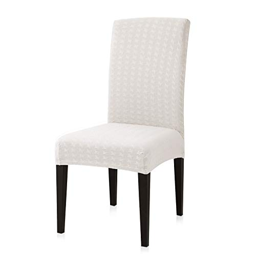 Subrtex Modern Stretch Chair Slipcovers for Washable Dining Seat Slip Covers with Little Checks, Set of 4, (4 PCS, Off-White)
