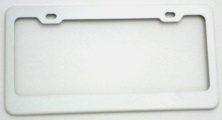 amazoncom license plate frame metal white finish automotive - White License Plate Frame