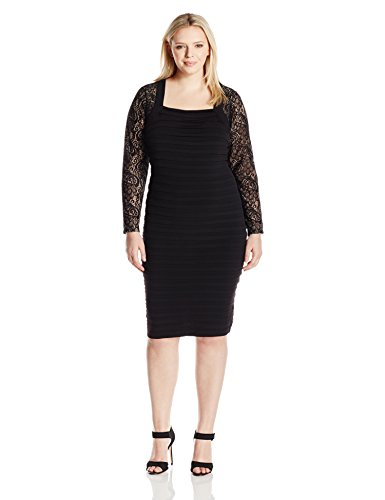London-Times-Womens-Plus-Size-Matte-Jersey-Shutter-Tuck-Lace-Long-Sleeve-Sheath-Dress
