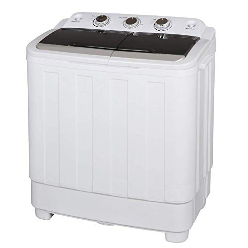 HomGarden Portable Washer Compact Mini Twin Tub Washing Machine w/Washer Spinner Cycle Spin Drye, Built-in Gravity Pump, 5.74 FT Power Cord (17.6 lbs Capacity)
