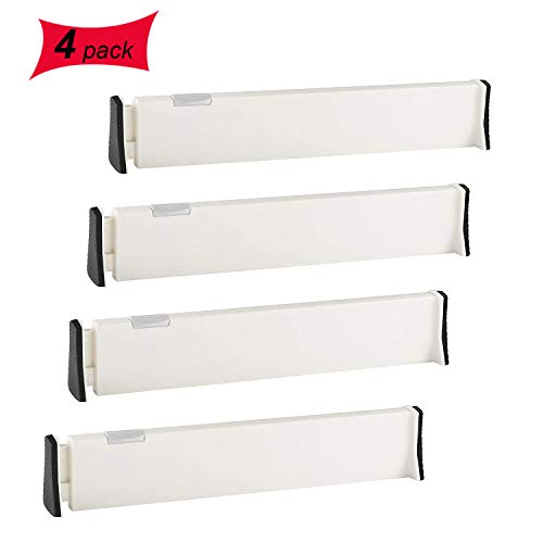 """Drawer Dividers 4 Pack, Expandable Dresser Drawer Organizers Separators Suitable 13-22"""", Tray Organizer for Silverware and Utensils, Kitchen, Drawer, Bathroom, Bedroom, Office or Dresser Storage"""