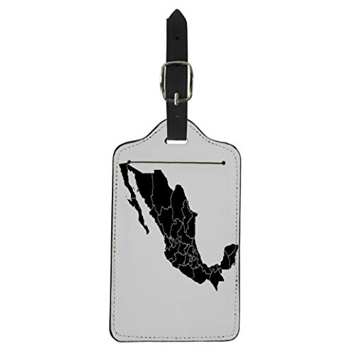 - Semtomn Luggage Tag America Black Map of Mexico American Border Caribbean Cartography Suitcase Baggage Label Travel Tag Labels