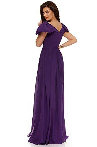 da a Miss Maxi Grey Abito Elegante lungo Donna Maniche da Vestito Viola Cocktail V Scollo sera Volant Corte f1Oqfx